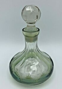 ANTIQUE HAND BLOWN CUT GLASS PERFUME BOTTLE WITH GREEN ACCENTS