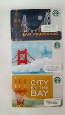 3 STARBUCKS San Francisco Cards - 2011 Foggy Bridge, City By Bay & Ferry Bldg