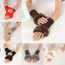 Women Girl Winter Warmer Faux Rabbit Fur Hand Wrist Fingerless Gloves Mitten Z25