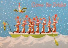 Vintage Christmas Party Invitation Card UNUSED MCM Deer Antlers Hats In Row Boat
