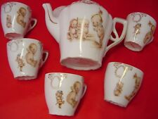 ANTIQUE ROSE O'NEILL KEWPIE PORCELAIN TEA SET, Teapot and 5 Cups, VERY GOOD COND