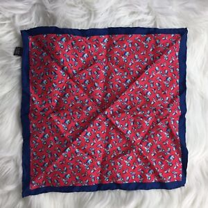 """Pocket Square Hot Pink Navy Scooter Print 100% Silk 13"""""""