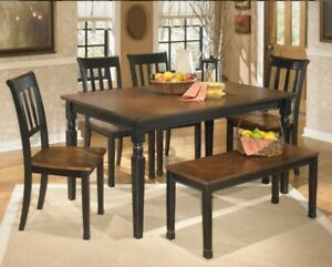 Carrol 7 piece Dining Room Table Set with Chairs and Bench