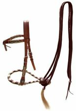 Showman Futurity Knot HEADSTALL Rawhide BOSAL & BROWN Nylon MECATE Reins