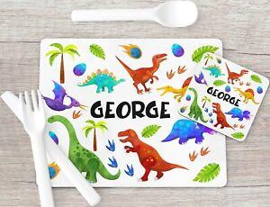 Dinosaur Print Placemat & Coaster Set, Kids Placemat Gifts, Boys Stocking Filler
