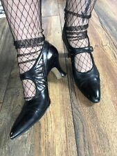 Victorian Edwardian Maryjane Heels Wearable Leather Cutout Pointy Toe Goth Witch