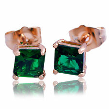 Gold Plated emerald Crystal Stud Earrings Wholesale womens vogue earrings