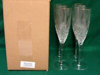 Rogaska VOGUE (GOLD) Champagne Flutes  SET OF FOUR    MINT IN BOX