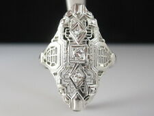Vintage Diamond Ring 14K White Gold Filigree Retro Estate Art Deco Old European