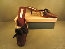 Olivia Rose Tal Brown Silk Ruching Bow Shoes Mules Kitten Heels Size 7