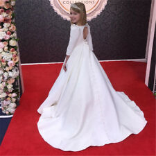 Pageant Satin 3/4 Sleeve Backless Flower Girl Dresses for Wedding Princess Gowns