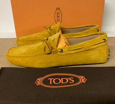 Tod's Gommino Suede Driving Shoes Yellow Size 9 UK 43 EU Brand New With Box