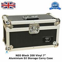 "2 NEO Black Storage DJ Flight Carry Case for 200 Singles 45 rpm vinyl 7"" Records"