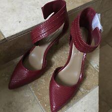 BCBG MAXAZRIA Shoes Red ANKLE STRAP PUMPS Stilettos SZ 7.5 NEW