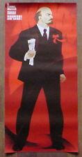 LARGE SOVIET RUSSIAN VINTAGE POSTER COMMUNIST RUSSIA SOCIALIST LENIN ART SACHKOV