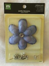 NEW Making Memories Jumbo Blossoms - 8 Paper Blossoms With Crystal Brads Purple