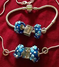 """Sterling Silver 16""""Chain+bible charmBangle &flower Beads/boxed."""