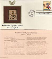 OLYMPICS CENTENNIAL WOMEN'S SOFTBALL GOLD FOIL STAMP REPLICA CACHET MAY 2, 1996