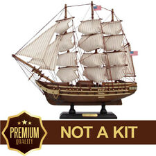 """USS Constitution Tall Model Ship Wooden Small Assembled 15"""" Scale 1/175"""