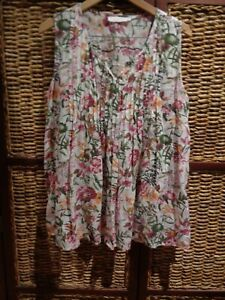 womens ALESSI dressy boho floral style blouse shirt top SZ L 12-14-16