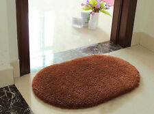 Coffee Oval Absorbent Fluffy Door Mat Rug Floor Cover Pad Nonslip Carpet