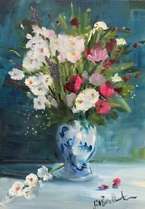 A4 print of Original oil painting art floral summer flowers vase shabby chic