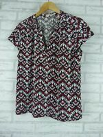 REGATTA PETITES Top Sz 16 Black, red, white print