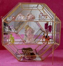 All Clear Glass & Brass Octagon CURIO CABINET DISPLAY CASE for heirlooms +