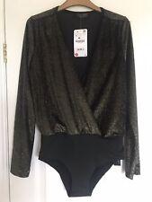 Bnwt Zara Gold Sparkly Bodysuit Small 10-12