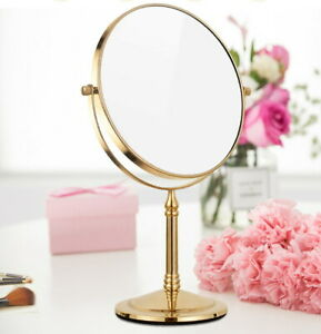 Gold Color Brass Beauty Makeup Cosmetic Double-Sided Magnifying Mirror eba641