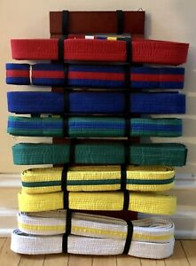 9 Level Martial Arts Display Wall Rack Holder Karate Tae Kwon Do INCLUDES BELTS