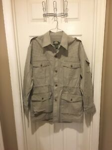 Vintage Cabela's Khaki Safari Anorak Button Up Jacket Men's L Tall Outdoor Gear