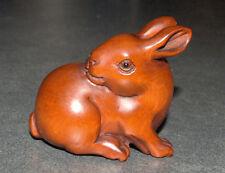 Netsuke Hand Carved Wood Figurine Sitting Rabbit Bunny Japan Signed