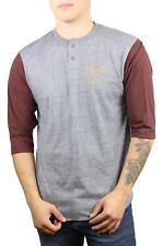 Brixton Mens Wheeler 3/4 Sleeve Henley L/S T-Shirt Heather Grey Chestnut Size M