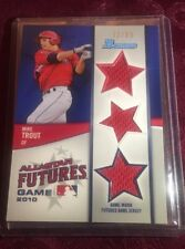 Mike Trout 2011 Bowman All Star Futures Triple Relic #d / 99, 1st MLB Relic, MVP