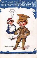 POSTCARD   COMIC   Military  WWI  Children  Don't make those eyes       SPURGIN