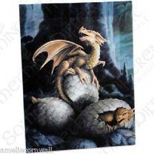 GOLDEN TREASURES Canvas Wall Art Plaque ANNE STOKES dragon wicca fantasy