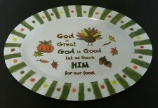 Stradivo Melamine Thanksgiving Serving Platter Pumpkin Turkey Fall Leaves
