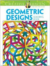 ADULT COLORING BOOK ~ GEOMETRIC DESIGNS ~ EXTRA LAGRE w/ PERFORATED PGS TO FRAME