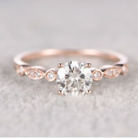 18K Rose Gold Filled White Topaz Jewelry Wedding Engagement Women Ring Size 5-10