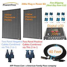 200w 200 Watt 2 100w Solar Panel Plug-n-Power Space Flex Kit for 12v Battery GSP