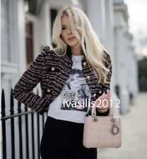 ZARA NEW KNIT TWEED JACKET WITH PEARL BEADS PUFF SLEEVES PINK S,M,L 9598/011