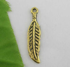 10 Antiqued Gold Tone Metal FEATHER CHARMS or Pendants 30mm chg0078