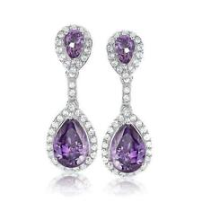 GENUINE LIGHT PURPLE AMETHYST AND WHITE TOPAZ STERLING SILVER EARRINGS