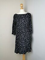 Gap Size UK 8 10 Black Ditsy Print Faux Wrap Career Office Work Dress #c3