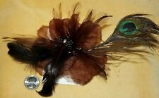 BROWN GOTHIC GOTH LOLITA BURLESQUE FEATHER TRIBAL Belly Dancing Hair CLIP PIN