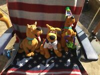 3X SCOOBY DOO plush toyS VERY CUTE, USED BUT IN VGC AUTHENTIC