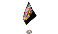 Harley Davidson Satin Flag with Chrome Base Table Desk Flag Set