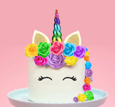 Large Unicorn Rainbow Horn Flowers Edible Cake Cupcake Topper Decoration  #153