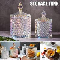 Colorful Roman Style Jar Crystal Glass Covered Storage Jar Sugar Candy Jar Decor